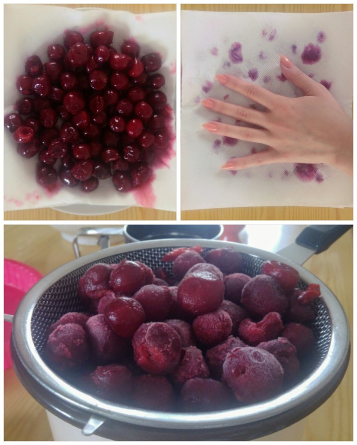 Collage - defrosting cherries on a colander
