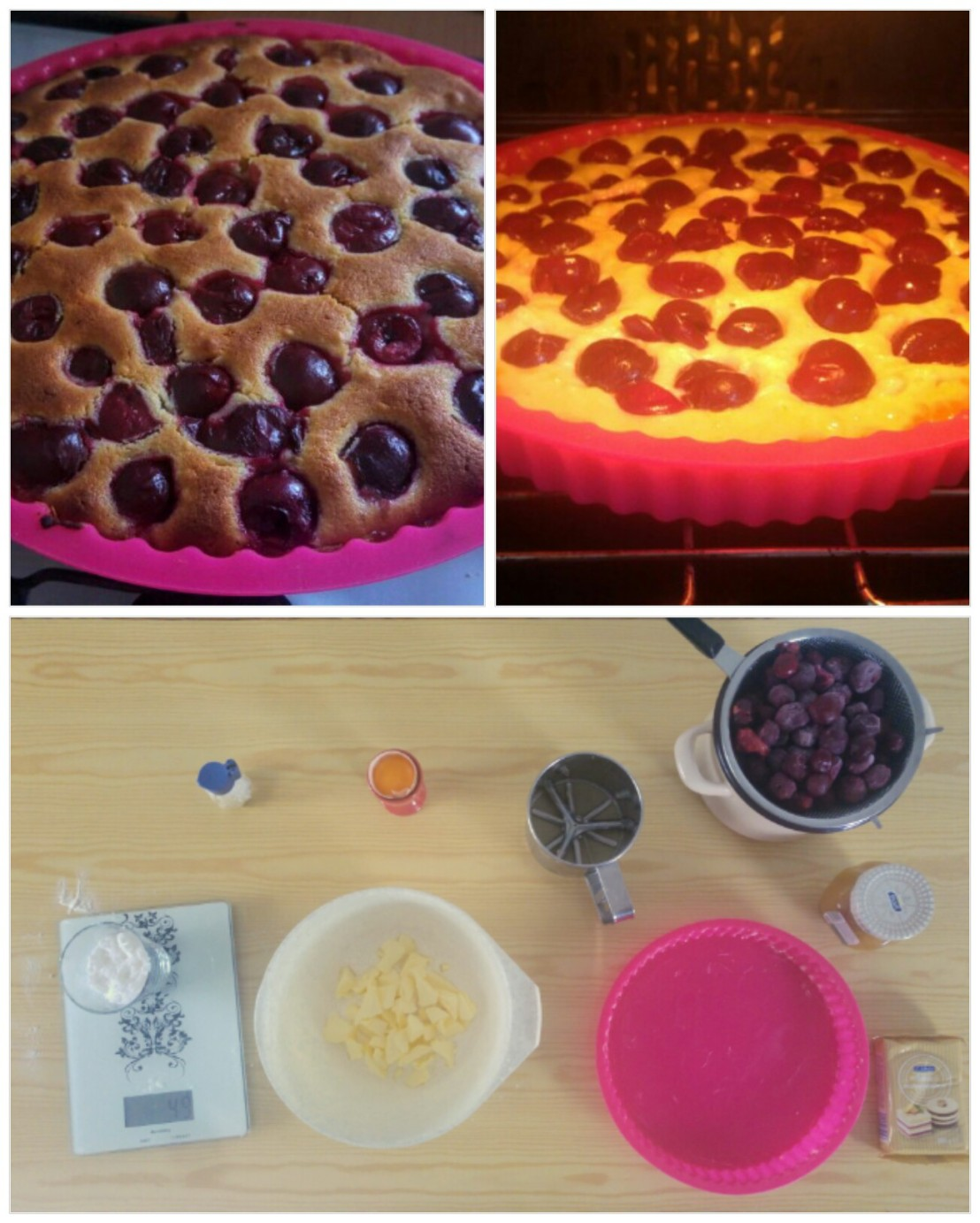 Collage - ingredients, marzipan cherry tart in the oven and baked