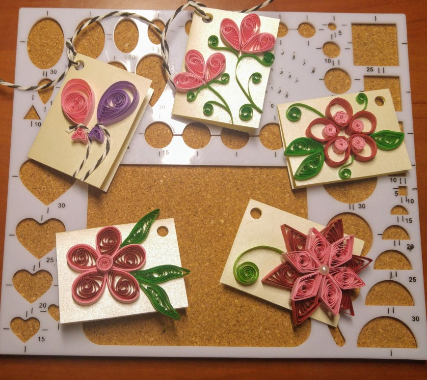 Five floral handmade gift tags