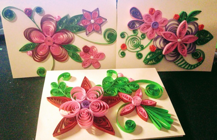 Three floral handmade cards