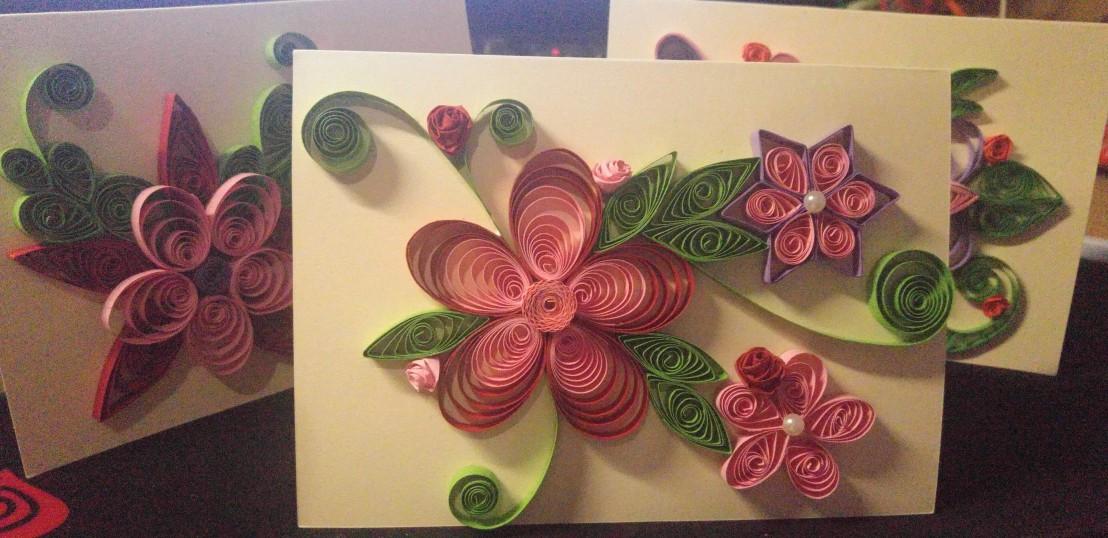 Three floral handmade cards