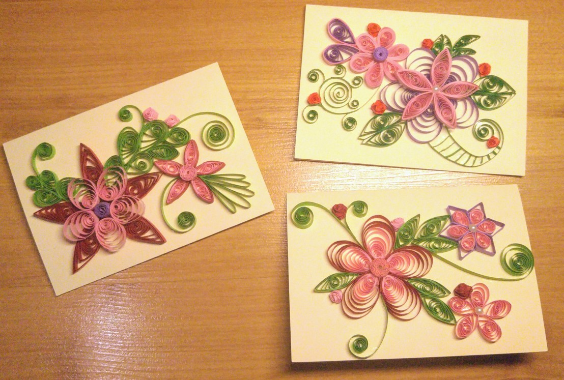Three floral handmade quilled cards