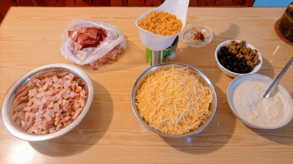 Ingredients for a thick crust pizza - ham and cheese