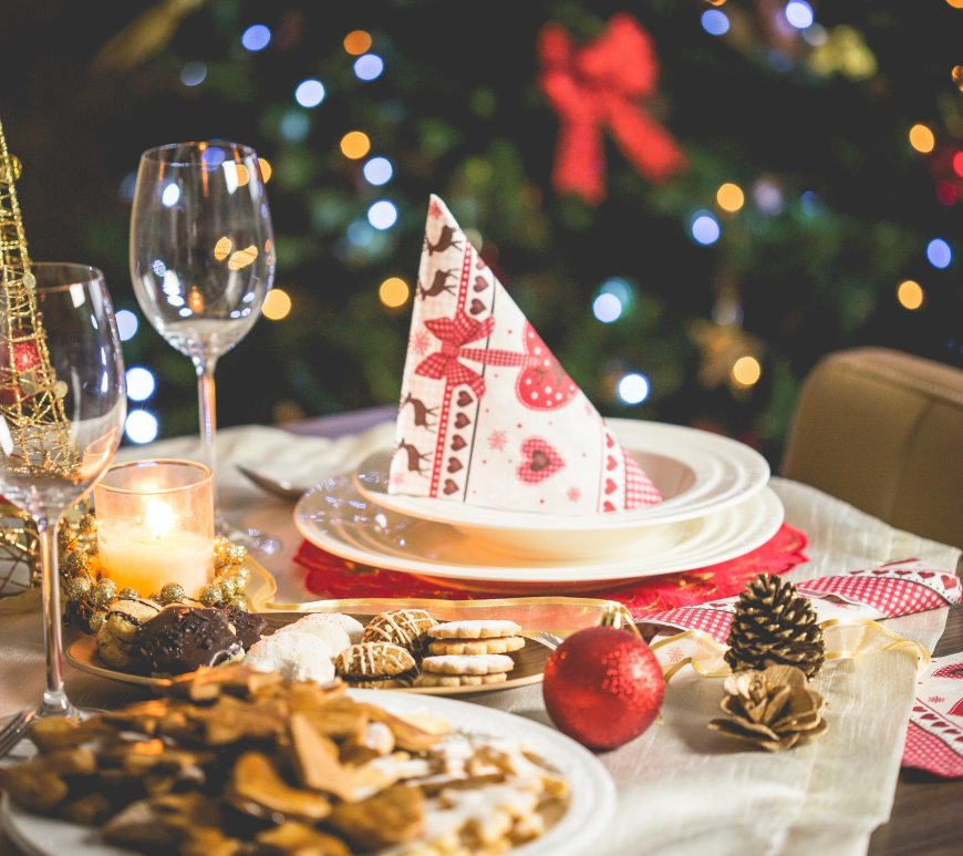 A festively decorated Christmas table