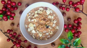 Festive gingerbread porridge in a bowl - bird view
