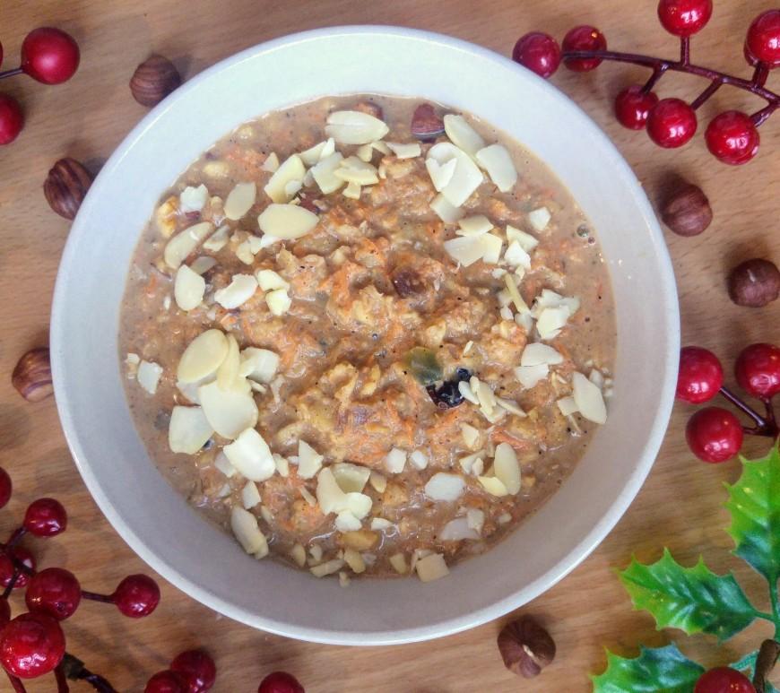 Festive gingerbread porridge in a bowl - bird view