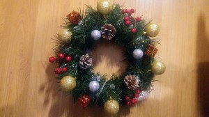A finished DIY Christmas wreath