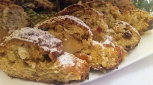 Sliced baked Christstollen on a plate