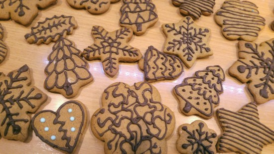Gingerbread cookies decorated with dark chocolate