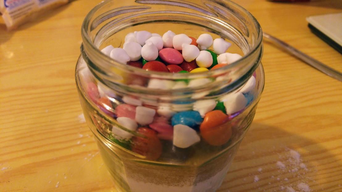 Ingredients for cookies in a big jar