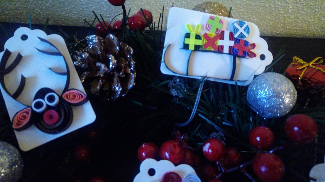 DIY handmade Christmas gift tags - a reindeer and a sleigh with presents