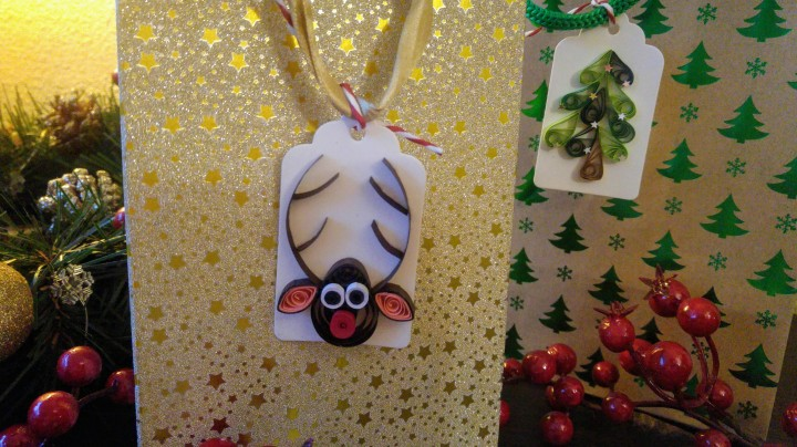 DIY handmade Christmas gift tags attached to presents