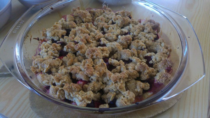 Baked oat fruit crumble in an oven proof dish