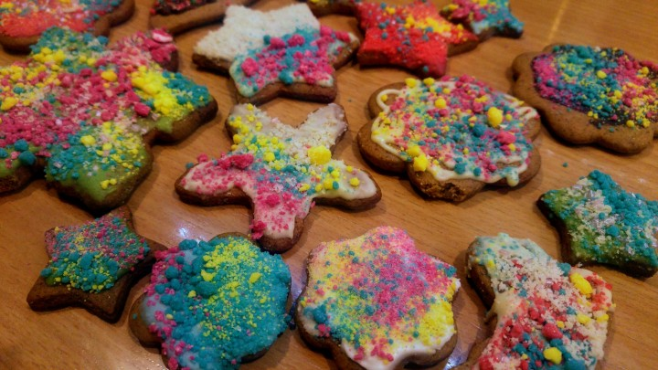 Cookies decorated with neon coloured chocolate sprinkles