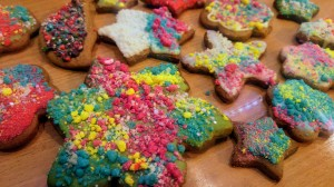 Cookies decorated with DIY coloured chocolate sprinkles