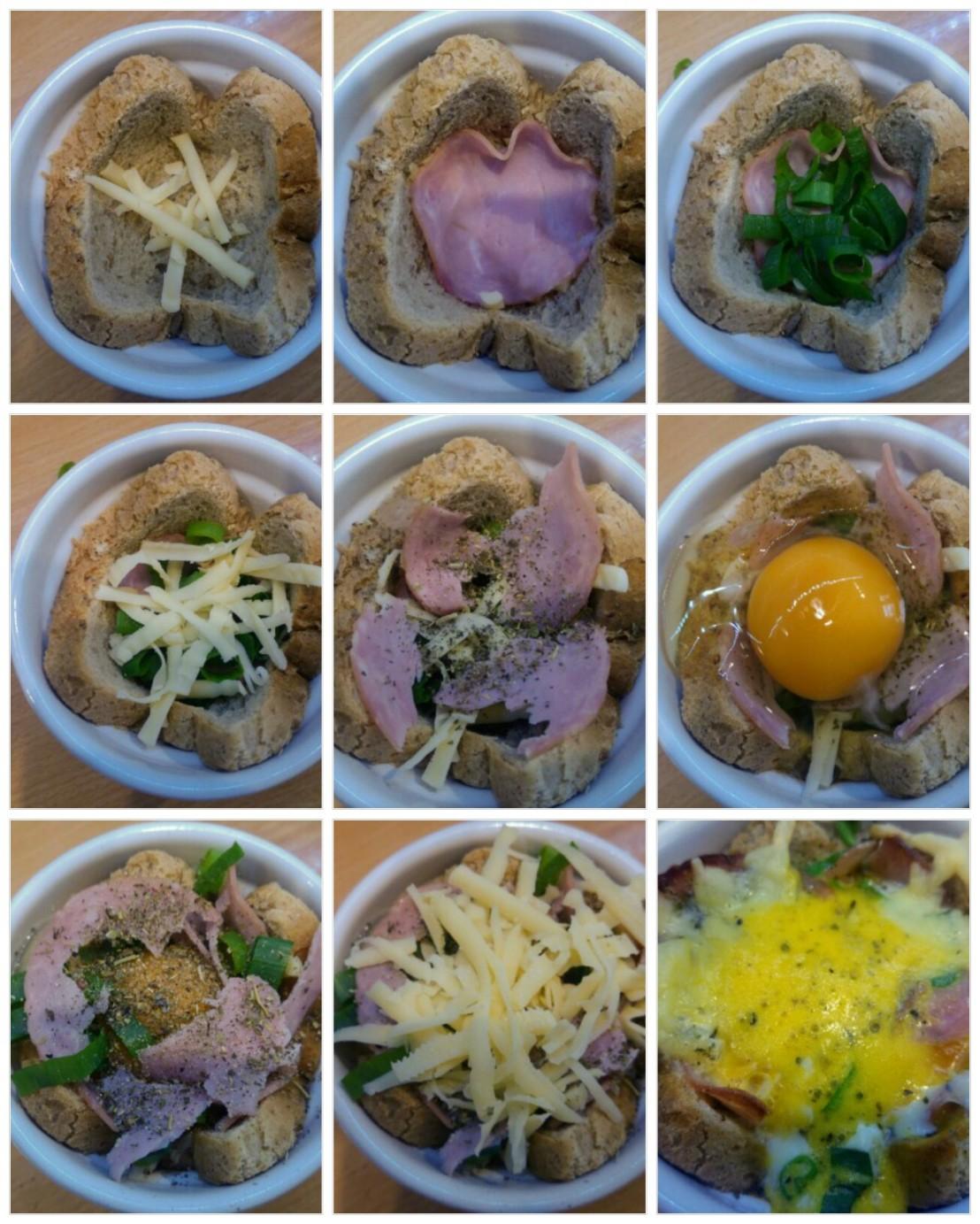 Collage of steps of making the breakfast ramekins