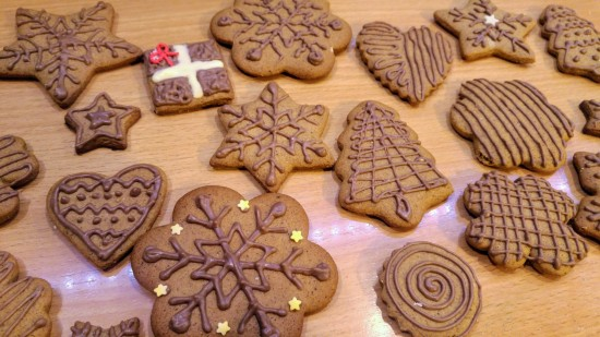Gingerbread cookies decorated with milk chocolate