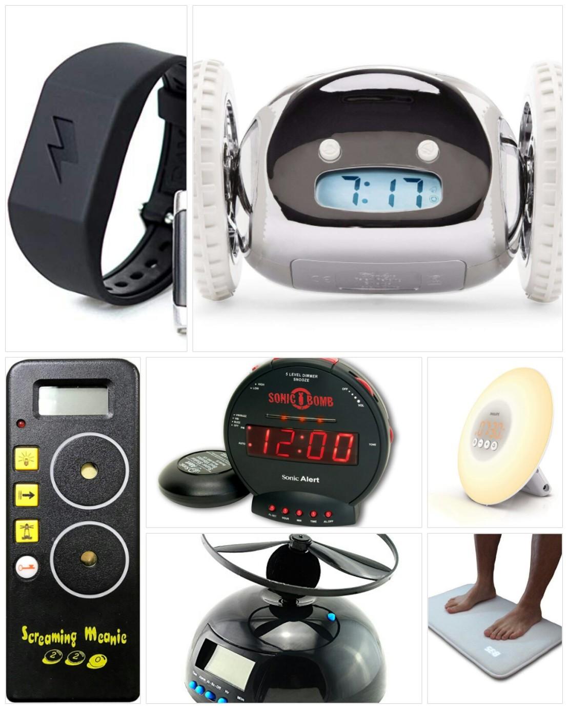 Bizarre alarm clocks - collage
