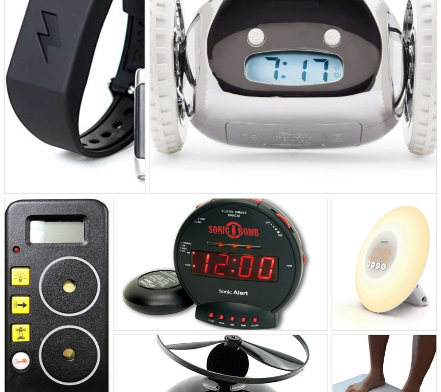 Bizarre alarm clocks - collage