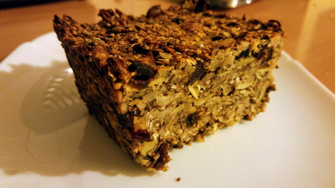 A loaf of seed and nuts fit cake
