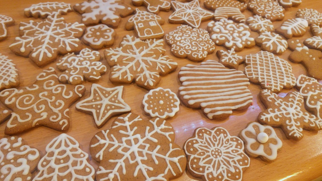 Gingerbread cookies decorated with royal icing
