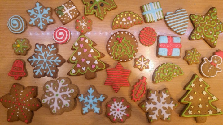 Gingerbread cookies decorated with coloured royal icing