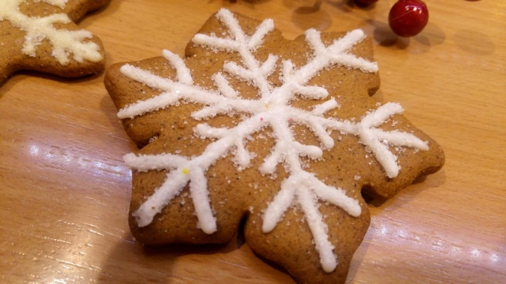 Cookie decorated with white royal icing and sugar