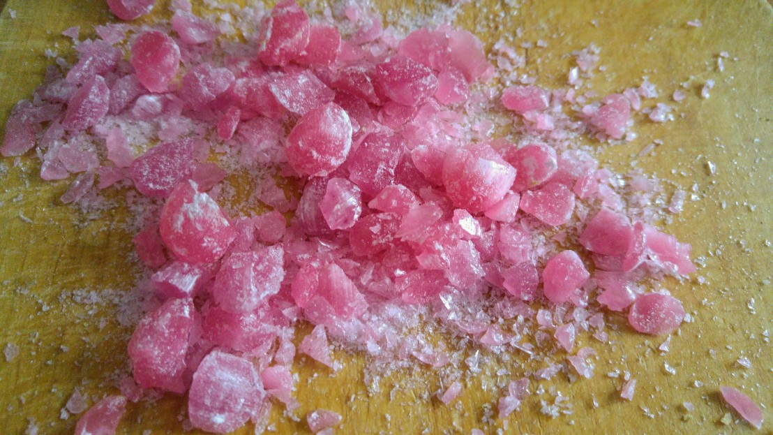 Crushed pink candy