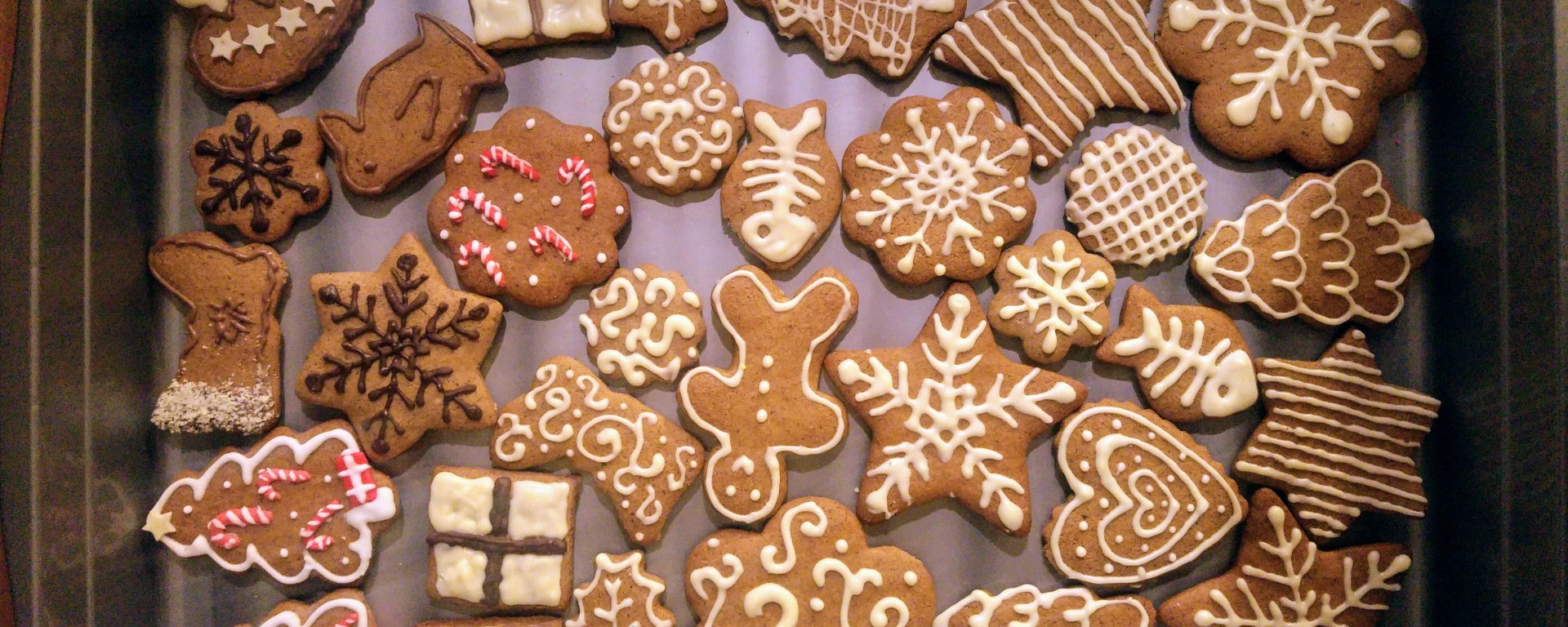 Gingerbread cookies decorated with dark and white chocolate
