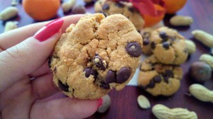 Holding flourless peanut butter chocolate chip cookies