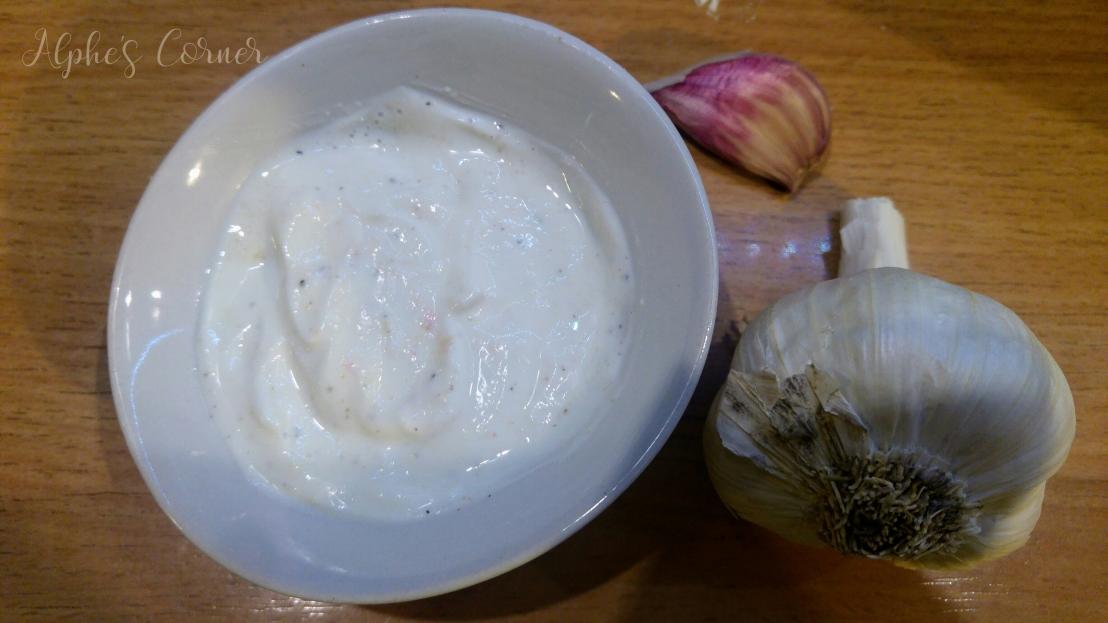Garlic sauce in a bowl