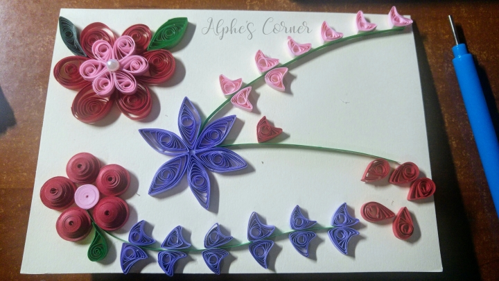 Grandmother's Day quilling card in progress, three flowers