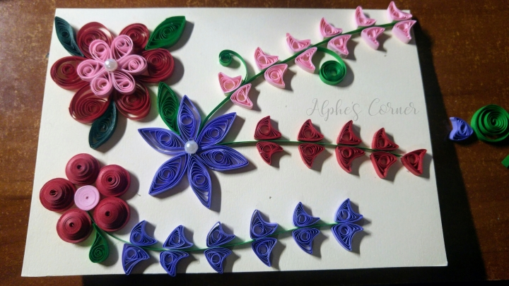Nearly completed Grandmother's Day quilling card