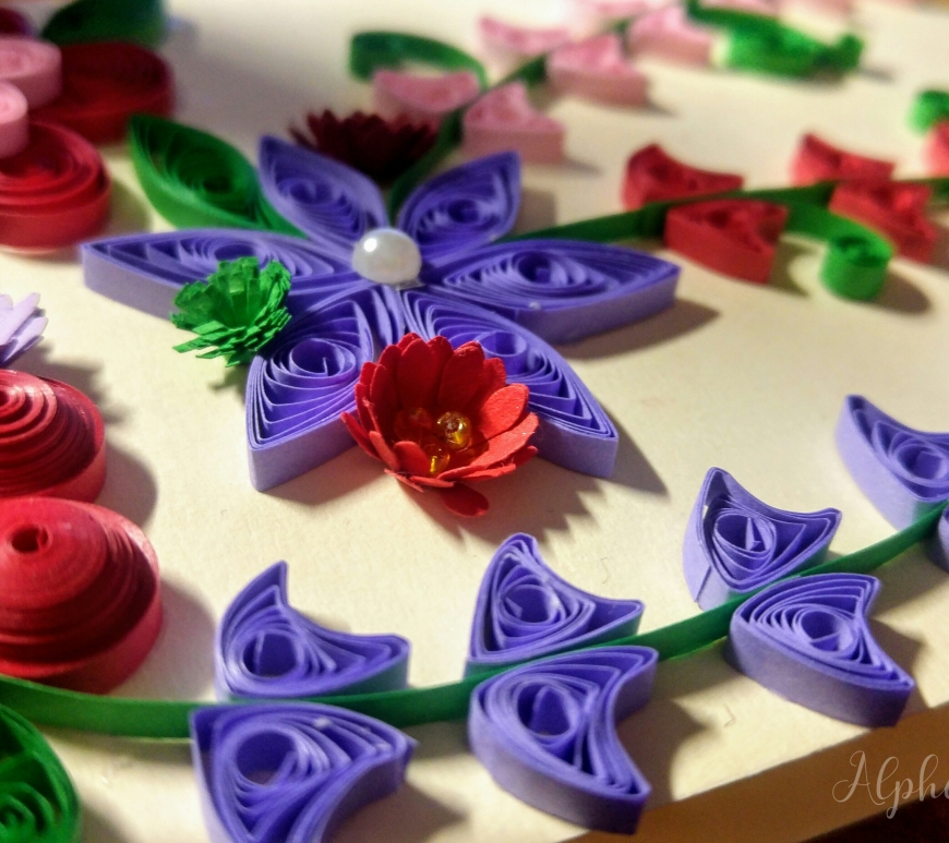 Grandmother's Day quilling card - close up on a red flower