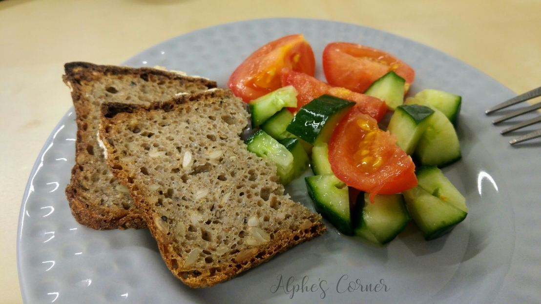 Healthy lunchbox - sourdough rye bread and vegetables