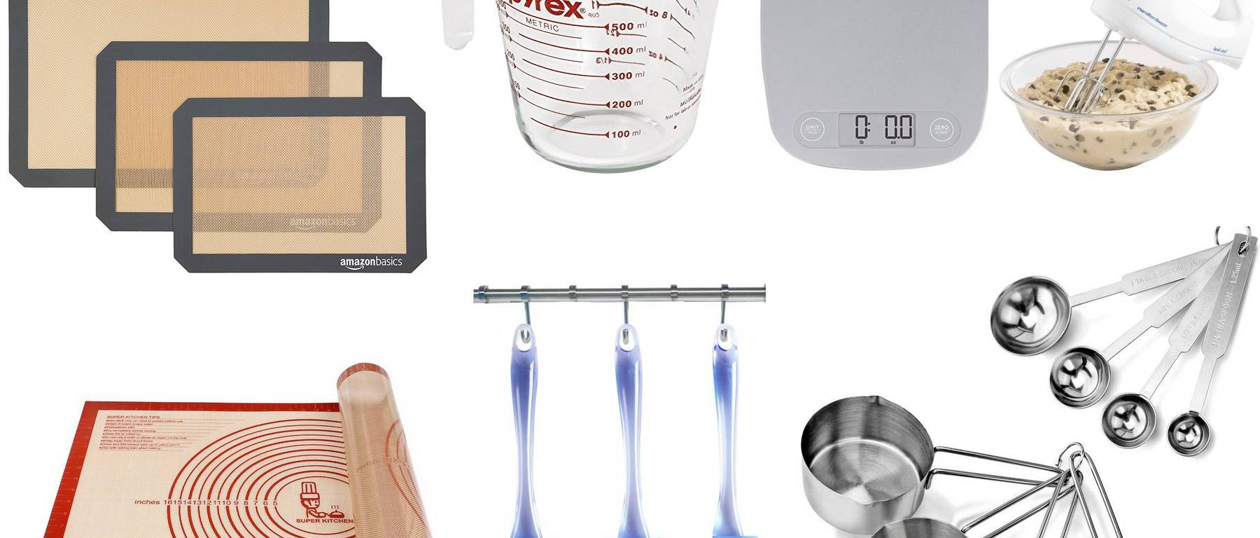 Useful baking utensils - collage