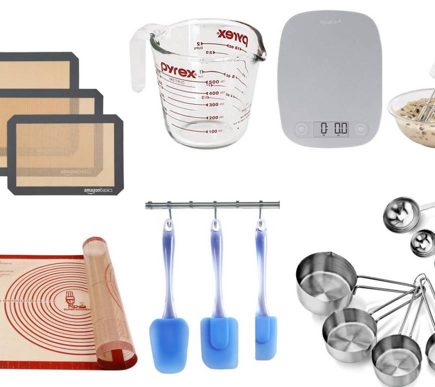 Useful baking utensils - collage