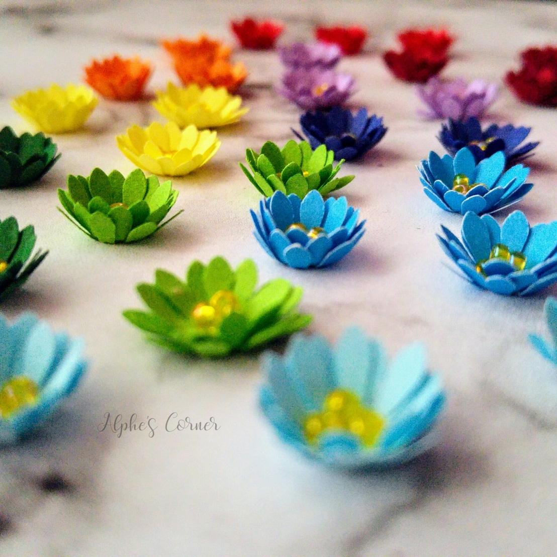 Colourful mini paper flowers