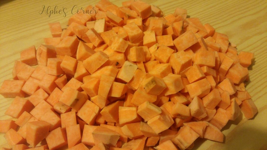 Spicy sweet potato stew - chopped up sweet potato