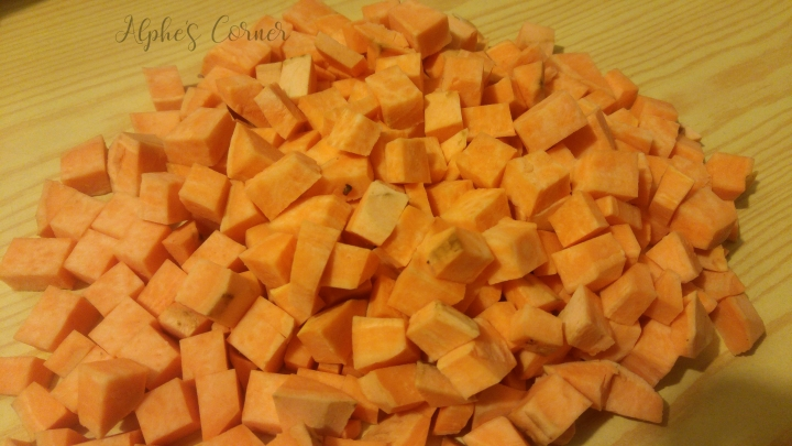 Spicy sweet potato stew - chopped up sweet potato