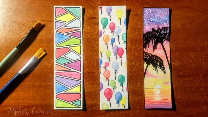 Completed three watercolour bookmarks