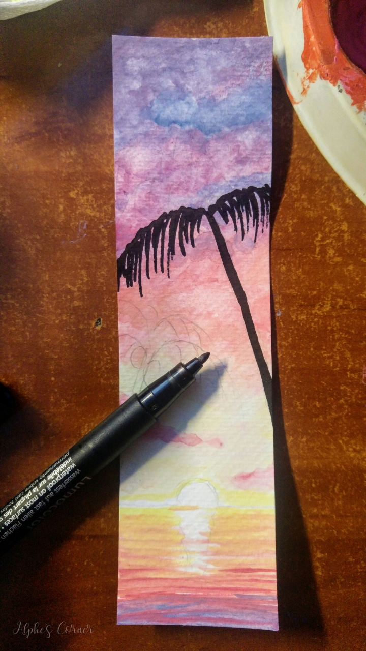 Watercolour bookmarks - drawing palm trees with a Sharpie