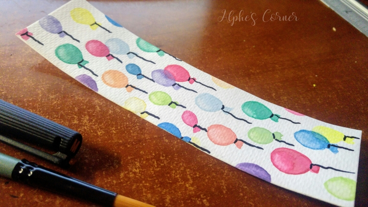 Completed balloons watercolour bookmark
