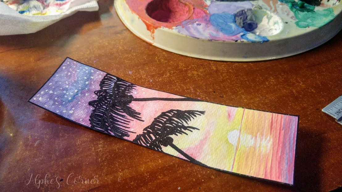 Completed sunset and palm trees watercolour bookmark