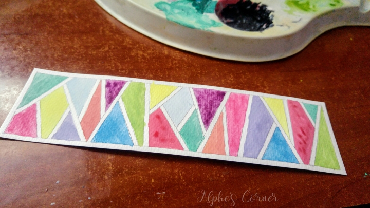 Geometric pattern filled with watercolours