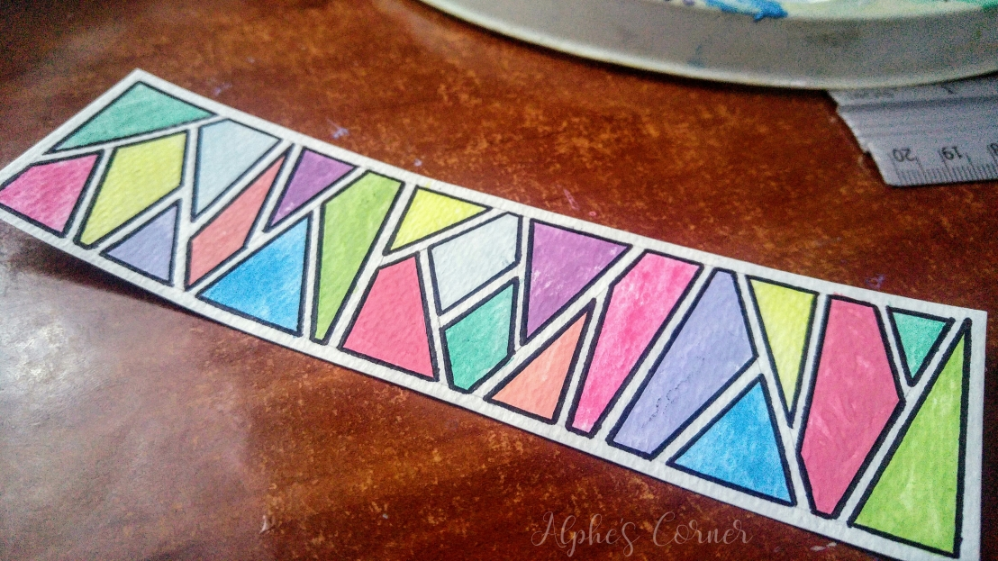 Watercolour bookmarks - geometric pattern outlined with a sharpie, completed