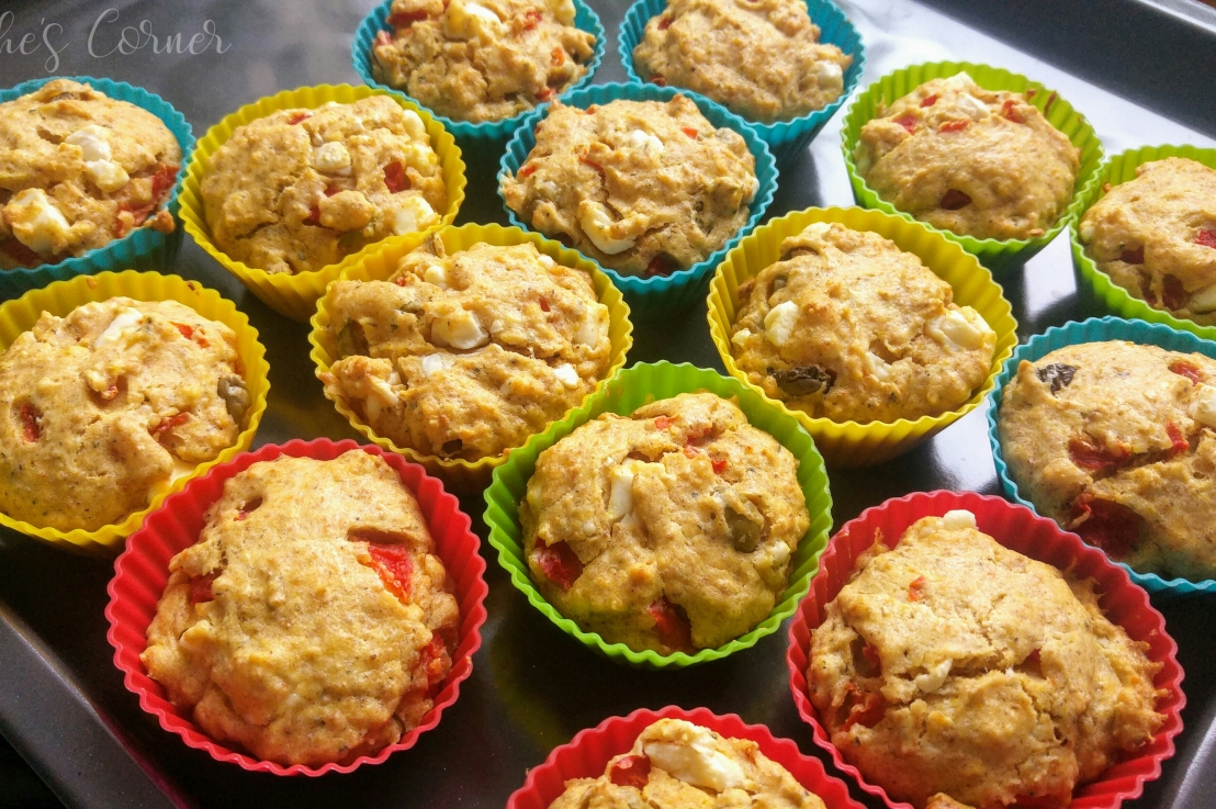 Feta, Bell Pepper And Olives SavouryMuffins