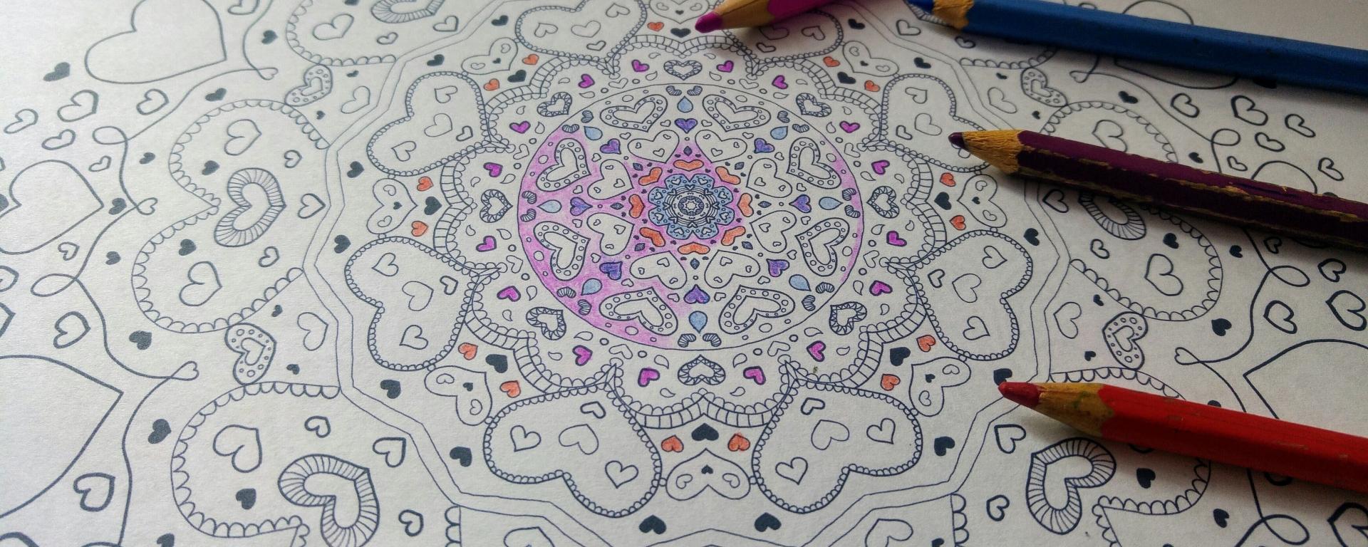 Heart mandala colouring page