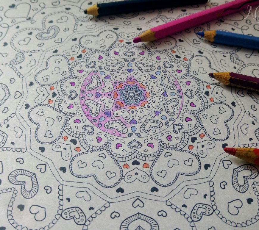 Heart mandala colouring page