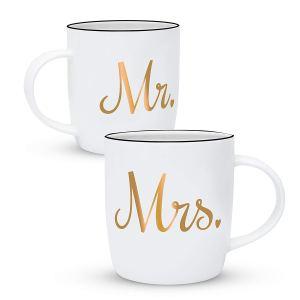 Valentine gift ideas - matching mr and mrs white mugs